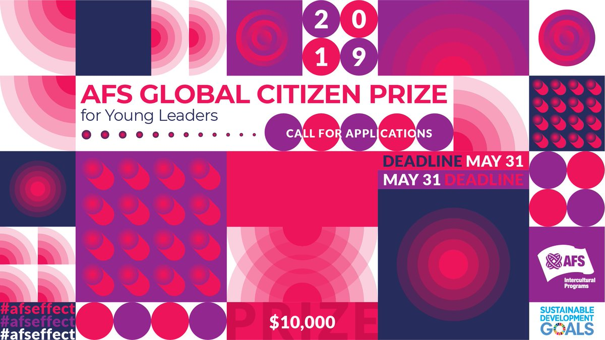 AFS Worldwide Resident Reward 2019 for Young Leaders (US$10,000 prize money)