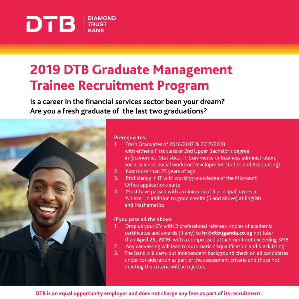 Diamond Trust Bank (DTB) Graduate Management Student Recruitment Program 2019 for young Ugandans