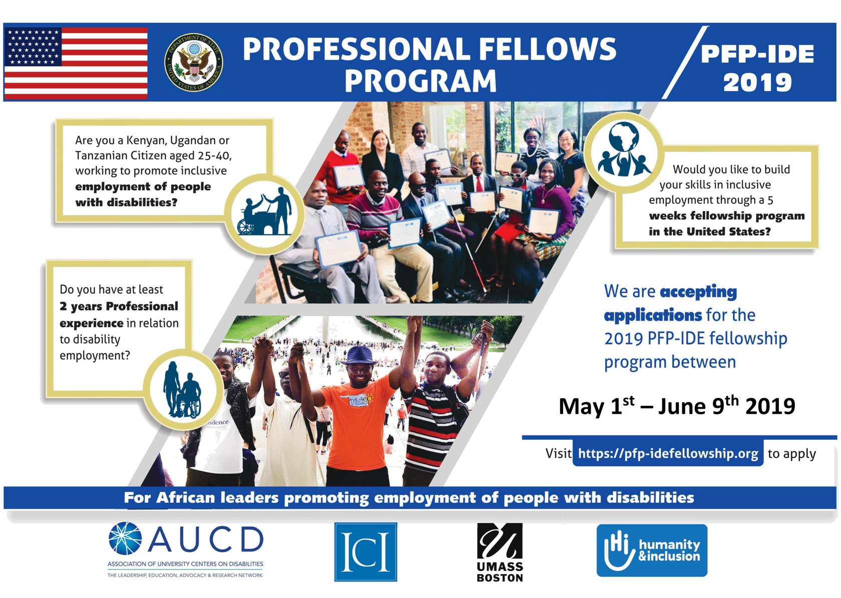 U.S. Department of State 2019 Expert Fellows Program on Inclusive Special needs Work (fall friend) for mid-career experts (Totally Moneyed to U.S.A.)