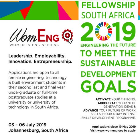 Females in Engineering (Womeng) South Africa Fellowships 2019