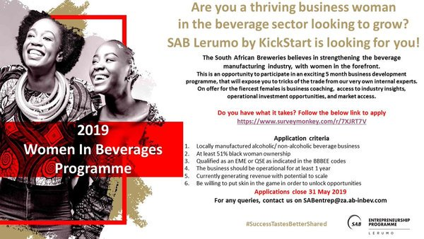 South African Breweries (SAB) Lerumo by KickStart 2019 Ladies in drinks Program