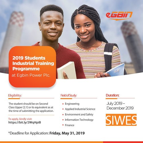 2019 Trainees Industrial Training Program at Egbin Power Plc