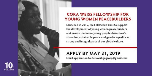 Cora Weiss Fellowship 2019 for Girls Peacebuilders– (Completely Moneyed to New York City, U.S.A.)