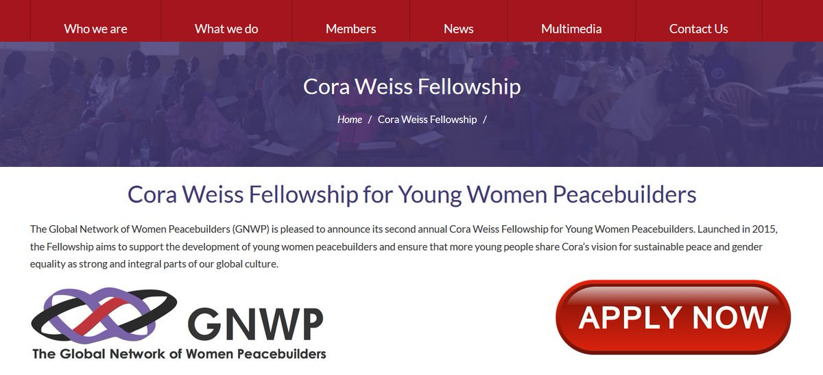Cora Weiss Fellowship for Young Women Peacebuilders 2019 (Fully-funded to New York City)