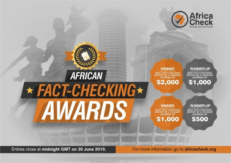African Fact-checking Awards 2019 for Reporters (Approximately $2,000 reward)