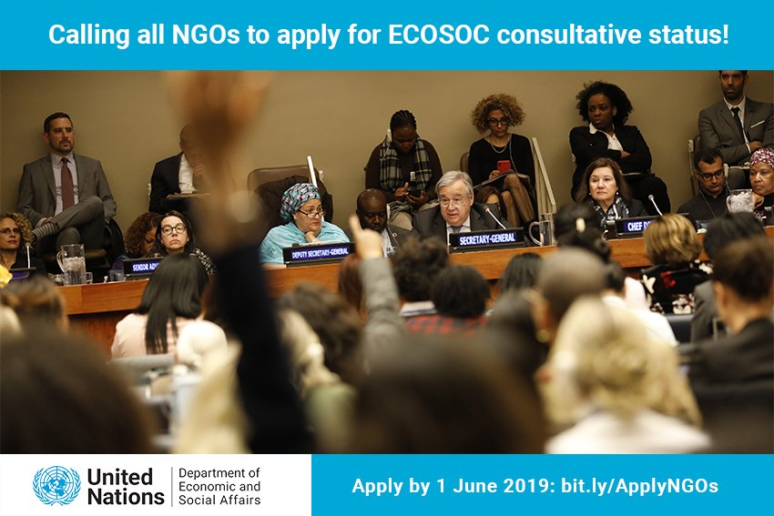 Calling all NGOs to request United Nations ECOSOC Consultative Status 2019