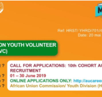 10 th Batch African Union Youth Volunteer Corps (AU-YVC) 2019 for Young African Experts (Completely Moneyed)