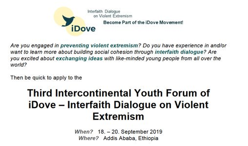 African Union Interfaith Discussion on Violent Extremism (iDove) 3rd Intercontinental Youth Online Forum 2019– Addis Ababa, Ethiopia