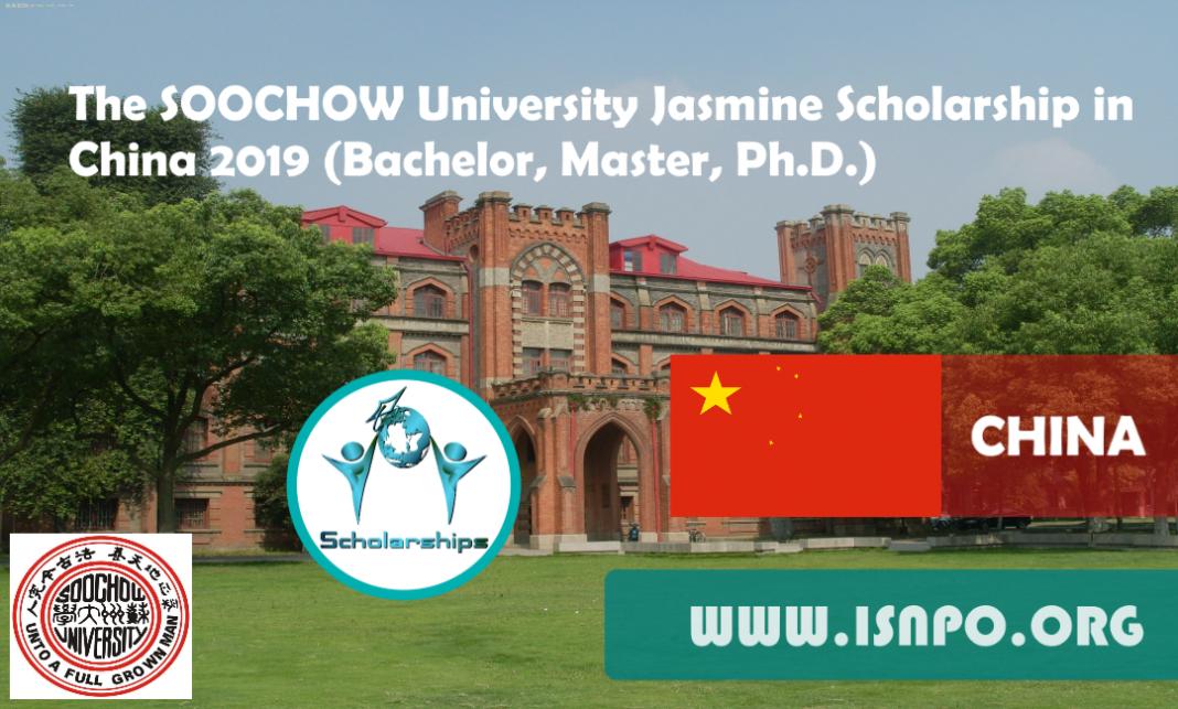 The SOOCHOW University Jasmine Scholarship in China 2019