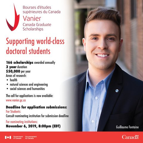 The Vanier Canada Graduate Scholarship (Vanier CGS) program 2019/2020 for doctoral research study in Canada ($50,000 each year)