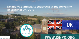 Kolade MSc and MBA Scholarship at the University of Exeter in UK, 2019
