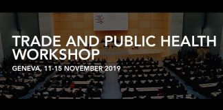 WTO Trade and Public Health Workshop 2019 in Geneva, Switzerland (Financing readily available)