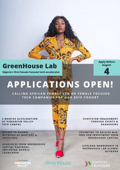 GreenHouse Capital 2019 Female-Focused Tech Accelerator Program ($100 k USD minimum financial investment chance)