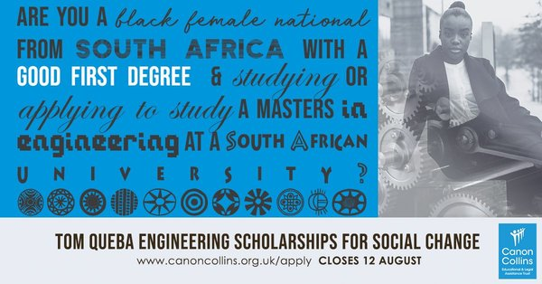 Canon Collins Tom Queba Engineering Scholarships for Social Modification 2019/2020 for Female South Africans