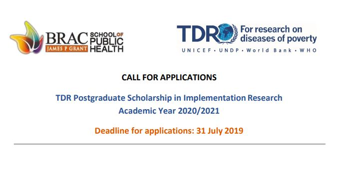 TDR Postgraduate Scholarship in Application Research Study 2020/2021(Fully-funded)
