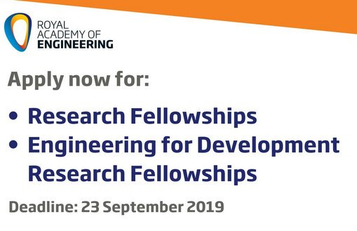 Royal Academy of Engineering 2019 Research Study Fellowships & & Engineering for Advancement Research Study Fellowships