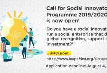 LEAP Africa's Social Innovators Program and Awards (SIPA) 2019/2020 for young African changemakers.