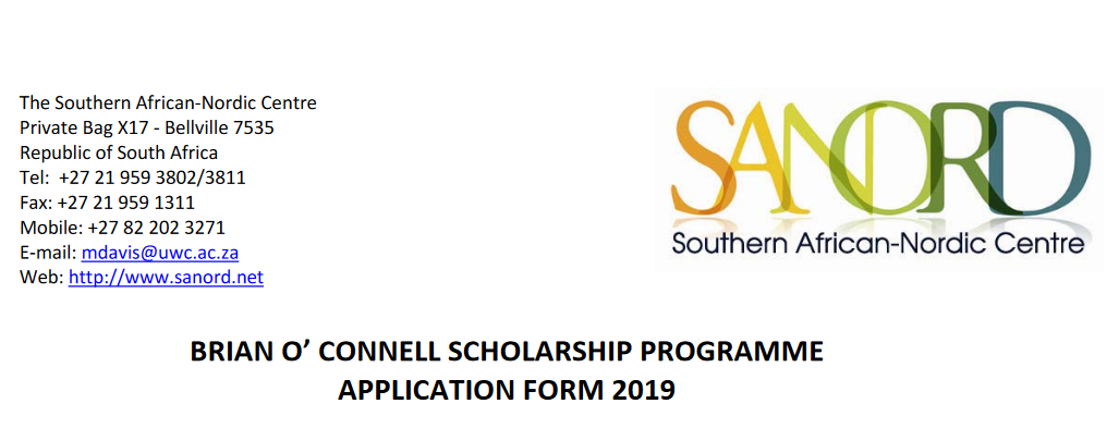Brian O' Connell (BOC) Scholarship Program 2019 for young Southern Africans
