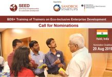 SAG-SEED BDS+ Training of Fitness Instructors 2019 on Eco-Enterprise Advancement in Hubli, India.