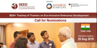 SEED BDS+ Training of Trainers on Eco-Inclusive Business Advancement 2019 in Hubli, India