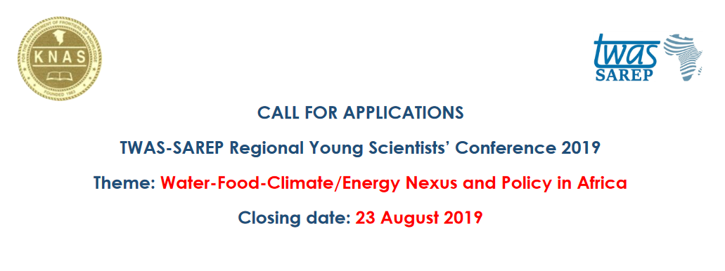 TWAS-SAREP Regional Young Researchers' Conference 2019 for young African researchers– Nairobi, Kenya (Moneyed)