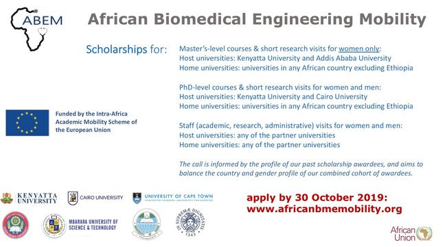 African Biomedical Engineering Movement (ABEM) Scholarships 2020 for African postgraduate trainees & & academics (Totally Moneyed)