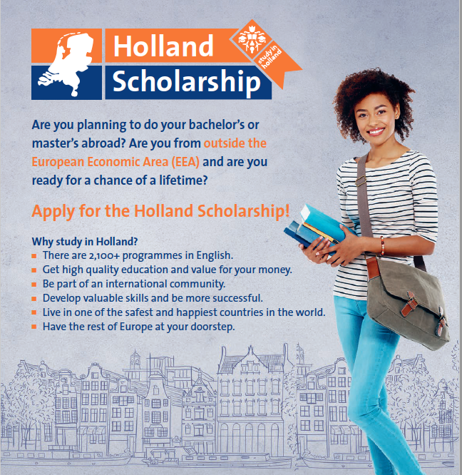 Holland Scholarships 2020/2021 for Bachelor's or Masters Research study in the Netherlands (5,000 Euros)