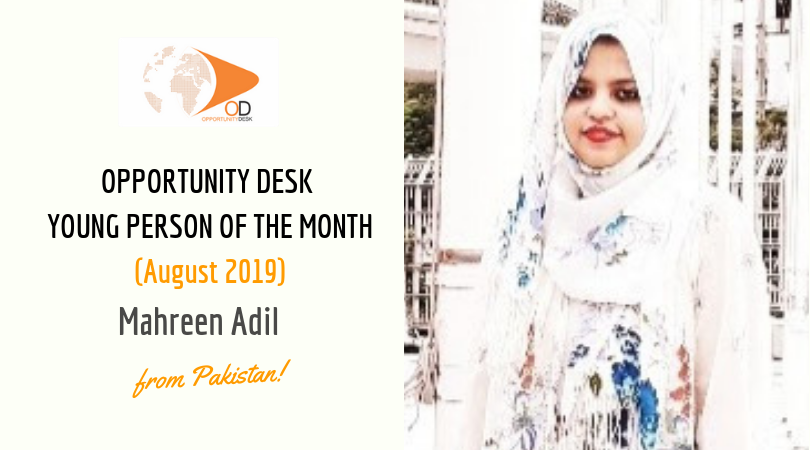 Mahreen Adil from Pakistan is OD Young Adult of the Month for August 2019!