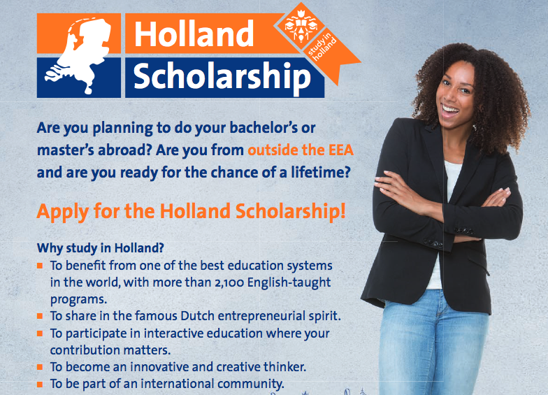 Holland Scholarship 2020/2021 for Bachelor's or Master's Research study in the Netherlands