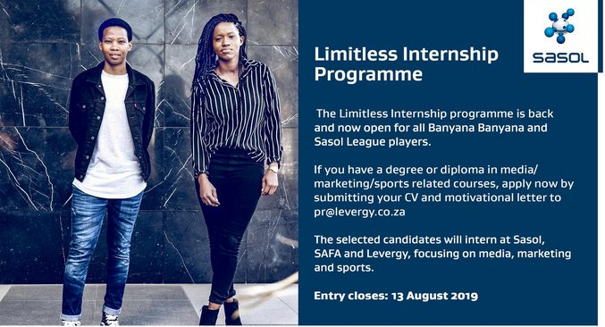 Sasol Limitless Internship Program 2019/2020 for South African ladies footballers