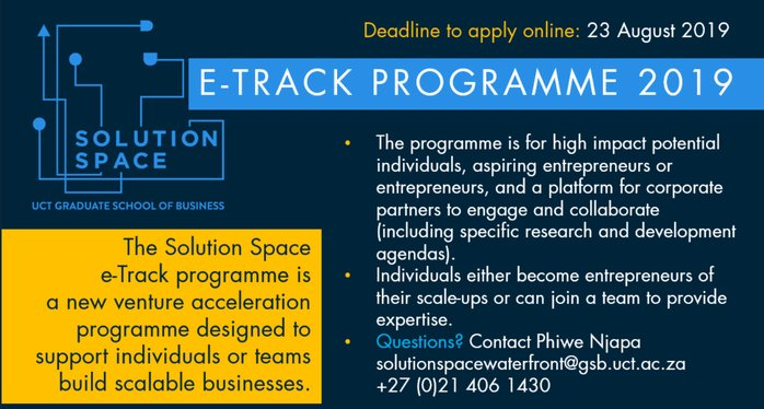 Service Area e-Track Program 2019 for Trainees and Alumni of University of Cape Town/UCT Graduate School of Organisation