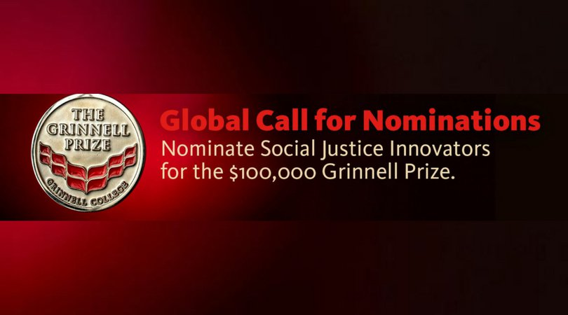 Grinnell College Innovator for Social Justice Reward 2020 (Award of $100,000 USD)