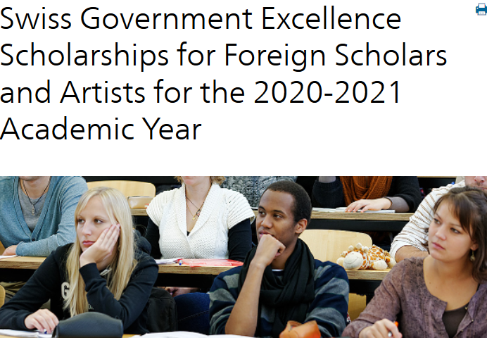 Swiss Federal Government Quality Scholarships 2020/2021 for Foreign Scholars & & Artists to study in Switzerland (Totally Moneyed)