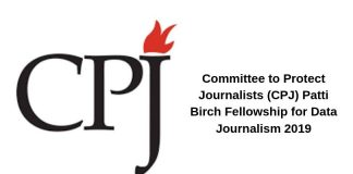 Committee to Secure Reporters (CPJ) Patti Birch Fellowship for Data Journalism 2019 (Stipend of $40,000)
