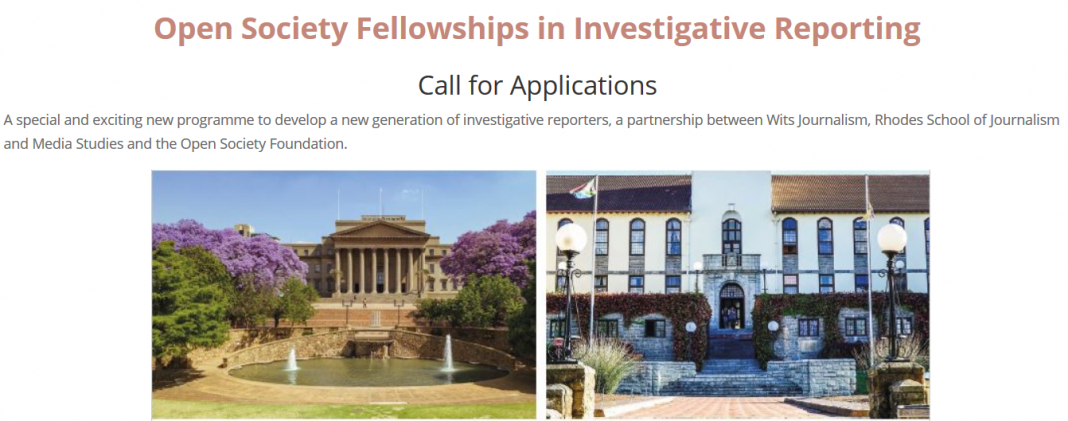 Require Application: 2019 Open Society Fellowships in Investigative Reporting (Moneyed Study/Internship to South Africa)