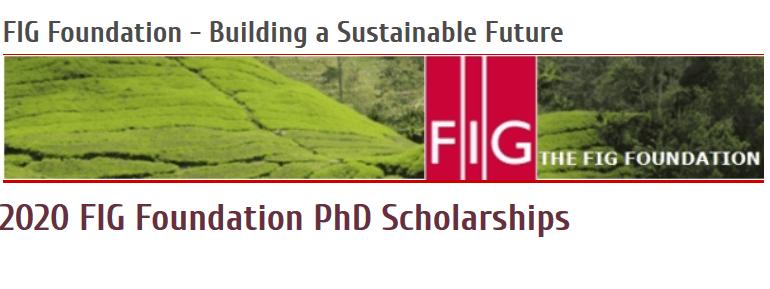 FIG Foundation PhD Scholarships 2020 for Surveying/Geomatics PhD Candidates (4,000 euros grant)