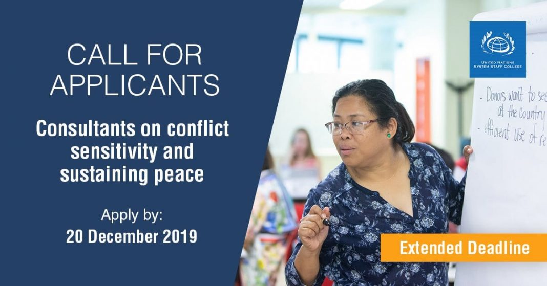 United Nations System Staff College (UNSSC) Call for Consultants on Sensitivity and Sustaining Peace