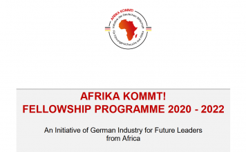 The AFRIKA KOMMT! fellowship programme 2020/2022 for Future Leaders from Sub-Saharan Africa (Fully Funded to Germany)