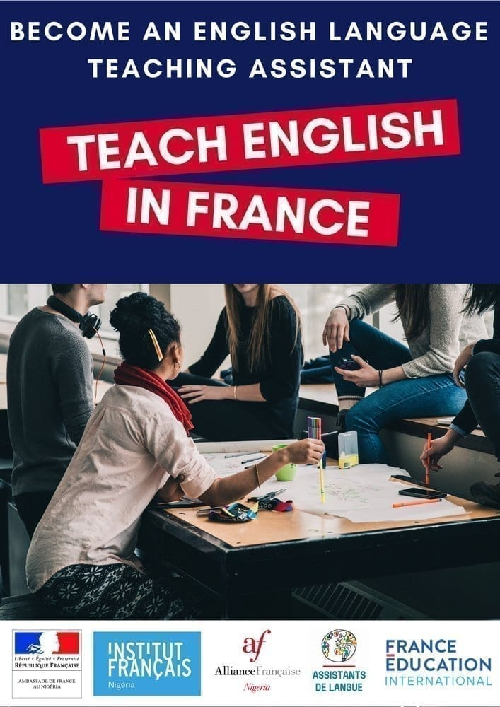 Call for applications : Recruitment of Nigerian English Language Assistants to teach in France (Fully Funded)