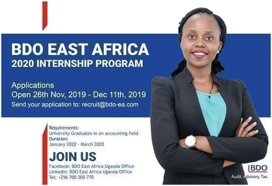 BDO East Africa Internship Program 2020 for Accounting Graduates