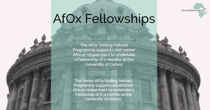 Africa Oxford Initiative (AfOx) Visiting Fellows Program 2020 for African-based Researchers & Academics (Fully Funded to Oxford University)