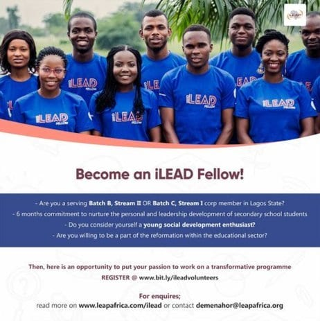 LEAP Africa iLEAD Fellowship Programme 2019 for National Youth Service Corp Members in Lagos State, Nigeria.