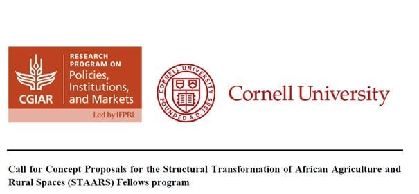 Structural Transformation of African Agriculture and Rural Spaces (STAARS) fellowship Program 2020 for early-career African Researchers (Fully Funded)