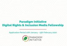 Paradigm Initiative Digital Rights and Inclusion Media Fellowship 2020 for early-career African Journalists (Fully Funded)
