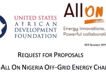 Call for Proposals: USADF – All On Nigeria Off-Grid Energy Challenge 2020 ($100,000 grant)