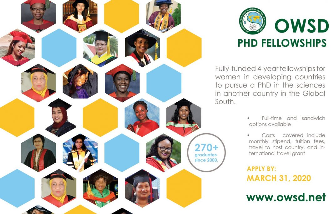 OWSD PhD Fellowships 2020 for Women Scientists from Science and Technology lagging Countries (Fully Funded)