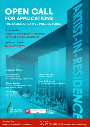 THE LAGOS CREATIVE PROJECT 2020 Artist-in-Residence Programme for young African Artists (Accommodation and Monthly Stipend)
