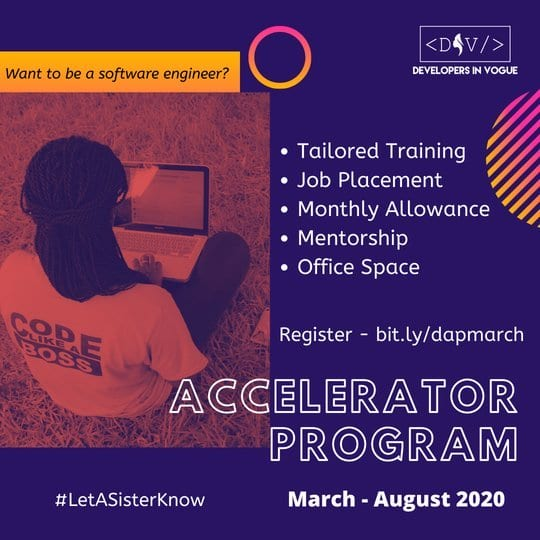 Developers In Vogue Coding Bootcamp 2020 for Ghanaian females