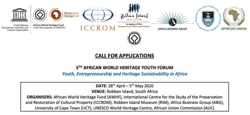 5th African World Heritage Regional Youth Forum 2020 for young Africans (Fully Funded to South Africa)