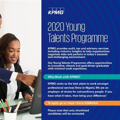KPMG Graduate Trainee Programme 2020/2021 for young Nigerians.